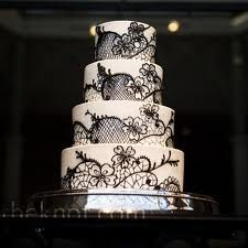 Romantic Black & White Wedding Cake