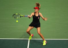 Eugenie Bouchard of Canada plays a forehand during the Women's Singles second round match against Angelique Kerber of Germany on Day 3 of the Rio 2016 Olympic Games at the Olympic Tennis Centre on August 8, 2016 in Rio de Janeiro, Brazil. (Source: Clive Brunskill/Getty Images South America)