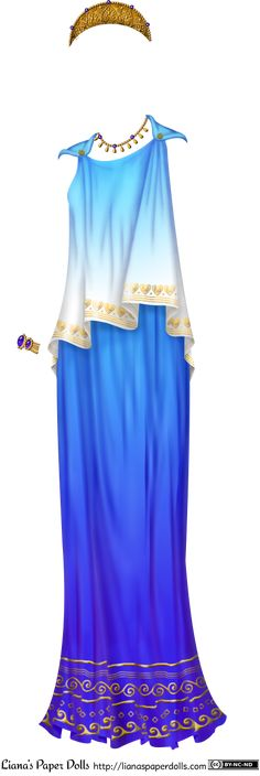 A blue peplos, which is a sleeveless draped garment held up with pins at the shoulders. The top is folded over and is light blue, fading to ...