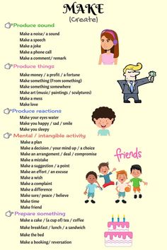 Learn common words we use with MAKE in English. Learn English Grammar, Learn English Words, English Phrases, English Idioms, Learning English For Kids, English Language Learning, Teaching English, English Lessons For Kids, English Tips