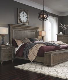 Johnelle California King Panel Bed with Storage Bench, Gray Dream Rooms, Dream Bedroom, Home Bedroom, Master Bedroom, Bedroom Decor, Master Suite, Bedroom Furniture, King Bedroom, Bedroom Colors