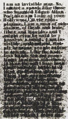 """metzkers:  studiomuseum:  Glenn Ligon Untitled (je suis un homme invisible) , 1991craie grasse sur papier 30 x 171/4 """"(76,2 x 43,8c..."""