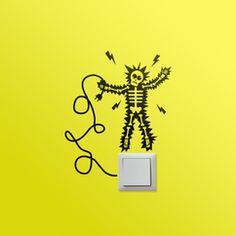 vinilos decorativos, originales, divertidos, interructores, enchufes, energía, luz, electricidad 08.Calambrazo Medidas: 17x20 cm Precio: 22,00 €