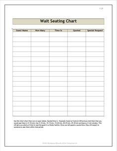Restaurant wait seating form
