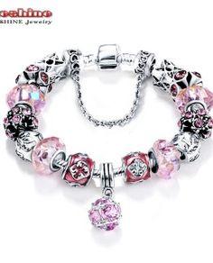 Charm Bracelet - Crystal Feather Flower Pendant White Beads Stretch Bracelet girl love best - Bracelets World