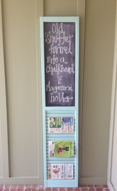 Custom Listing .old Shutter Turned Into A Framed Chalkboard And Magazine Rack…