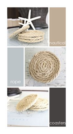 Nautical Rope Coasters - So easy just rope and a glue gun!