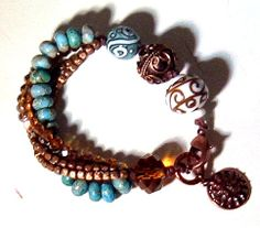 Copper Lampwork  Blue Jasper and Crystal by GardenGateDesigns, $35.00