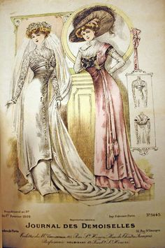 Wedding fashions for February 1909.  To achieve this smooth figure, wear a long corset and princess slip. A thin pad at the bum and a corset cover with rows of ruffles sewn at the bust will help with the S-curve shape.  Both gowns have underskirts.  To save money on expensive fashion fabric, attach just the lower half of the underskirt to a underlining that goes up to the waistline.  The bridal lace sleeves and yoke can be cut from a kimono pattern with the tucked inset following the top of…