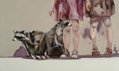 Paintings of Young Children Bonding with Playful Animals by Amberlee Rosolowich