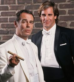 HOLLYWOOD CA - Stars of TV's 'Quantum Leap' Dean Stockwell (left) and Scott Bakula pose in character during a 1989 Hollywood California photo portrait session. (Photo by George Rose/Getty Images) Top 10 Funny Movies, Funniest Movies, Dean Stockwell, Ncis New, Sci Fi Tv Shows, Fantasy Tv, Quantum Leap, Movie Facts, Sci Fi Movies