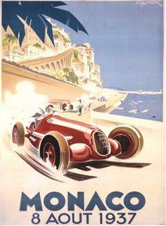 Vintage Grand Prix, Monaco, 1937 Auto Racing Poster Fine Art Giclee Print