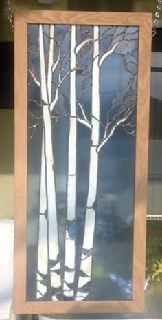 ASH TREE Wood Framed Stained Glass Panel
