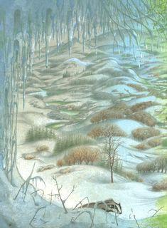 Pauline Baynes - 1998 Narnia left book end sheet - Artwork for C. S. Lewis