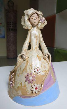 e-keramika / dáma v krinolíne - zvonec