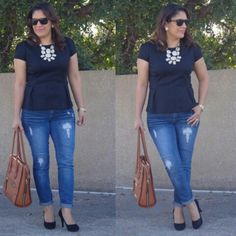 I love this #lizclairborne pleated peplum. So I paired it with jeans and black round toe pumps