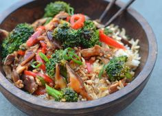 TESTED & PERFECTED RECIPE - A Chinese stir-fry with shiitake mushrooms, broccoli, red peppers, and an unctuous, flavorful brown sauce.