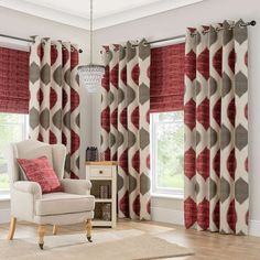 Morocco Red Lined Eyelet Curtains | Dunelm