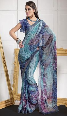 G3 Fashions Teal Faux Georgette Printed Saree  Product Code : G3-LS6214 Price : INR RS 1432