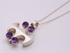Designed by Kultaseppa Salovaara KYFinland c.1970Sterling silver withAmethyst90cm long chain