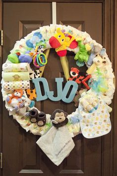 Making for the front door and attaching the diaper babies(see pin)...great for a room decoration afterwards
