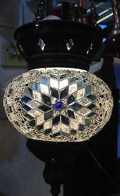 Turkish morrocan handmade colorfull mosaic lamp light candle brass matelware