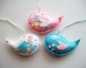 Bird Ornaments Felt Wall or Tree Hanging Hand Embroidered Flowers and Flower Sequins Handsewn 3 pieces