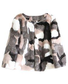 Colorblocked Long-sleeves Faux Fur Coat |