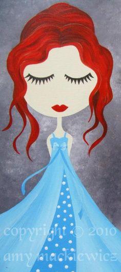Whimsical Art Print Red Hair Girl Illustration by ArtofAmy on Etsy, $15.00