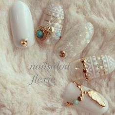 Gold, white and Turquoise nail art                                                                                                                                                     More