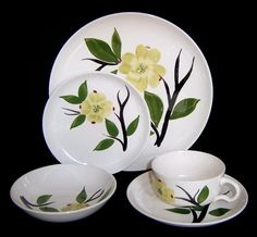 """""""Dixie Dogwood"""" dishes from the - flowers look a lot like the real thing, except it's rare to fine one on a stem. Cup And Saucer Set, Blue Ridge, Bone China, Dinnerware, Decorative Plates, Pottery, Hand Painted, Dishes, Antiques"""