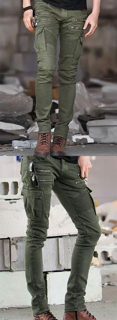 Men's Mid Rise strenchy Chinos Simple Slim Solid Pants Men's fashion news and style advice; Mens Fashion Shoes, Look Fashion, Slim Chinos, Casual Wear, Men Casual, Tactical Cargo Pants, Bermuda, Mode Style, Fashion Clothes