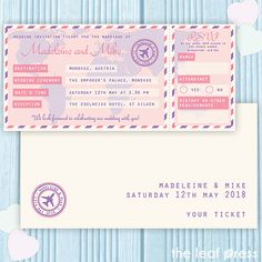 Travel Ticket travel themed wedding invitations