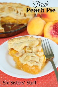 Fresh Peach Pie on SixSistersStuff.com - this is our mom's tried and true recipe!