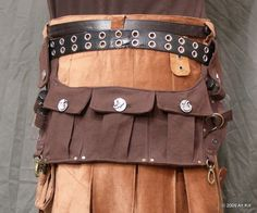 Steampunk Spare Pockets Ilike the idea of the drop pouch and the leather kilt too Steampunk Accessories, Steampunk Clothing, Steampunk Fashion, Steampunk Men, Leather Craft, Leather Bag, Leather Kilt, Dystopia Rising, Renaissance