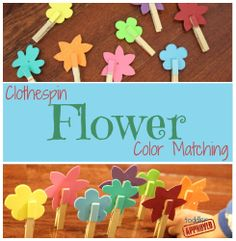 Clothespin Flower Color Matching from Toddler Approved - great fine motor & learning activity for tots & preschoolers