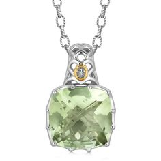 18K Yellow Gold and Sterling Silver Fleur De Lis Bail Green Amethyst... ❤ liked on Polyvore featuring jewelry, pendants, 18k gold jewelry, sterling silver charms pendants, gold fleur de lis pendant, sterling silver fleur de lis pendant and 18k gold pendant