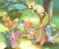 pokemon glaceon art | espeon flareon glaceon grass jolteon leafeon lying pixiv pokémon ...