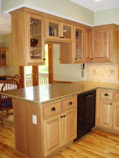 Stain & Clear Finish on Maple Cabinets. Kitchen Cabinet Door Styles, Kitchen Cabinet Remodel, Wood Kitchen Cabinets, Cupboard Design, Kitchen Flooring, Maple Cabinets, Kitchen Bar Design, Home Decor Kitchen, Kitchen Furniture