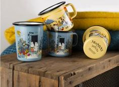 Muurla enamelware Moomin mugs to celebrate new film Moomins On The Riviera . Moomin Mugs, Mug Decorating, Tove Jansson, Scandi Style, Pepsi, Kettle, Crock, Tumbler, Beautiful Homes