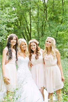 love this style of bridesmaid dress and flower crowns!!!