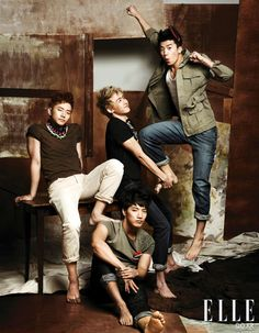 2PM's Lee Junho, Nichkhum, Jang Woo Young &  Kim Min Jun (Jun.K) Elle Korea Magazine