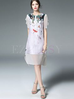 Shop for high quality Chic Floral Print Irregular Hem Loose Dress online at cheap prices and discover fashion at Ezpopsy.com