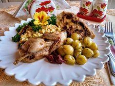 Meggylikőrös sült töltött fürj karemellizállt piszkével Cook Books, Turkey, Keto, Favorite Recipes, Meals, Chicken, Cooking, Food, Cucina