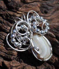 Banded Agate  OOAK Wire Wrapped Pendant by poisonivydesigns, $45.00
