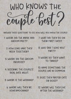 Grey Who Knows The Couple Best ? Rustic Bridal Shower Games – Game Over Bridal Shower Questions, Fun Bridal Shower Games, Unique Bridal Shower, Bridal Shower Decorations, Bridal Shower Invitations, Bridal Showers, Bridal Games, Wedding Decorations, Wedding Games