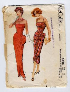 Original Vintage McCall's 4425 Sarong Wiggle Evening Gown Dress Pattern Bust 32 | eBay