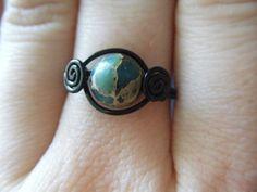 Aqua Terra Jasper Ring  Black Wire Wrapped  Natural by JbellsGems, $11.00