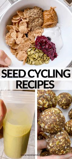 seed cycling recipes for hormone health. Breakfast bowls, smoothies and energy bites for the luteal phase and other phases. Gluten free seed cycling recipes for energy balls with dates and other healthy ingredients. Date Recipes Healthy, Raw Food Recipes, Low Carb Recipes, Clean Eating Recipes, Healthy Eating, Seed Cycling, Green Tea For Weight Loss, Healthy Seeds, Holistic Nutrition