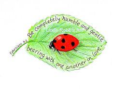 Scripture Art Ladybug Inspirational Bible Verse by LindaRobbsArt